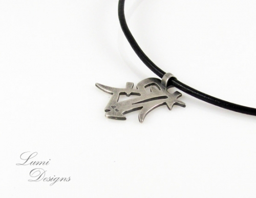 Necklace 'Wolf' with sterling silver (925) and leather cord