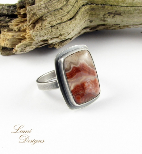 Ring 'Earthly Power' with agate and sterling silver (925)