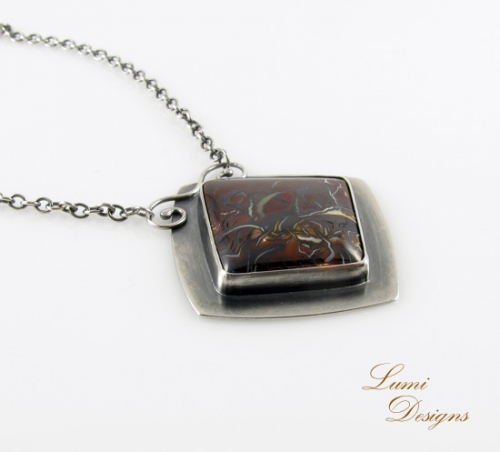necklace 'Home' with koroit opal and sterling silver (925)
