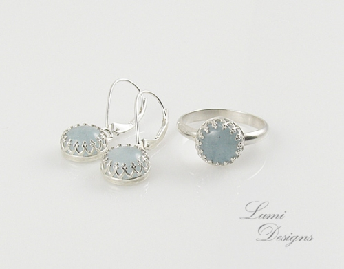 Jewellery Set 'Light Blue Dream' with aquamarine and sterling silver (925)