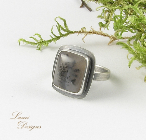 Ring 'Whispers of the Forest' - sterling silver (925) and merlinite