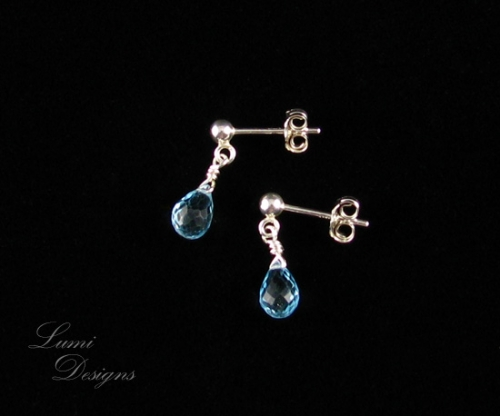 Earrings 'Drops of Heaven' with swiss blue topaz and sterling silver (925)