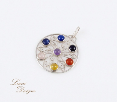 Pendant 'Colors of Life' with all the chakra-stones