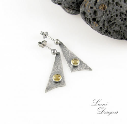 Earrings 'Sailing the Seven Seas' with citrine and sterling silver