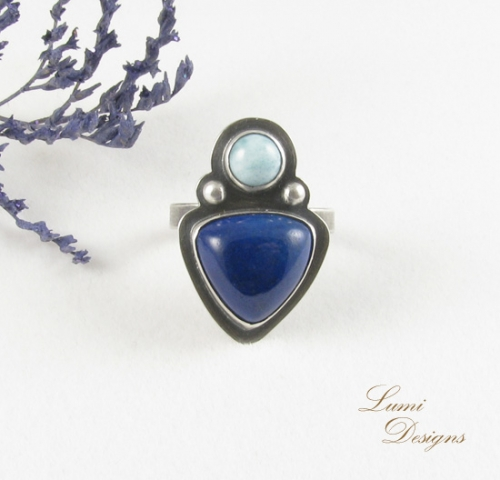 Ring 'New Way' - sterling silver (925), lapis lazuli and larimar