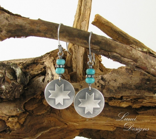 Earrings 'Eight Pointed Star' are made with sterling silver (925) and turquoise