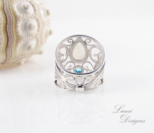 Jewellery Set 'Dream' with moonstone, swiss blue topaz and sterling silver (925)