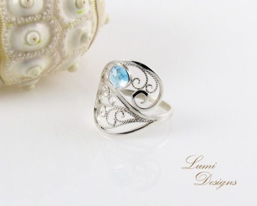 Ring from Jewellery Set 'Drops of Heaven' - swiss blue topaz and sterling silver (925)