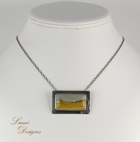 Necklace 'Desert' with picture jasper and sterling silver (925)
