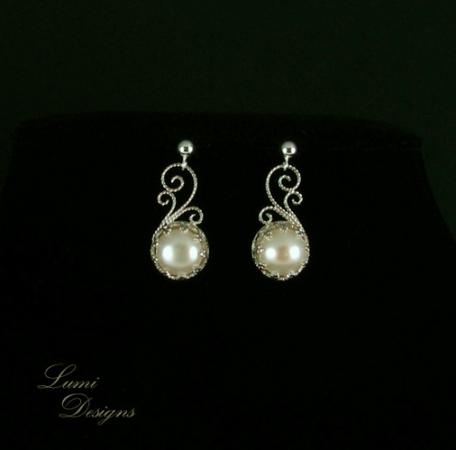 Jewellery set 'Indriel'- sterling silver (925), moonstone and freshwater pearls