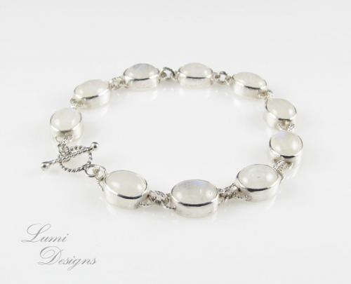 Bracelet 'Indriel' with moonstone and sterling silver (925)