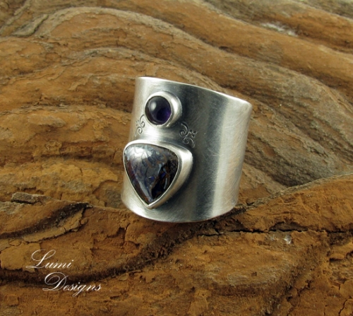 Ring 'Secret Garden': sterling silver (925), koroit opal and amethyst