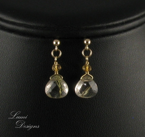 Earrings 'Golden Rain' with rutilated quartz, citrine and gold-filled (14K/20)