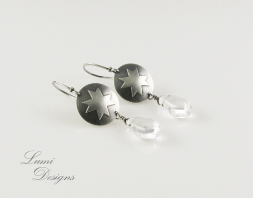 Earrings 'Eight Pointed Star' with Clear Quartz