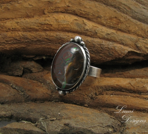 Ring 'Inner Beauty' with koroit opal and sterling silver