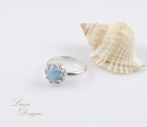 Ring 'Bora Bora' with larimar and sterling silver (925)
