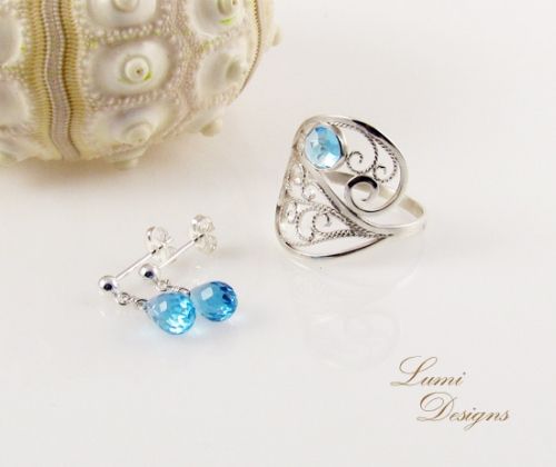 Jewellery Set 'Drops of Heaven' - swiss blue topaz and sterling silver (925)
