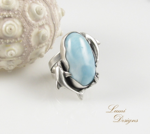 Ring 'Heavenly Water' - sterling silver (925) and larimar