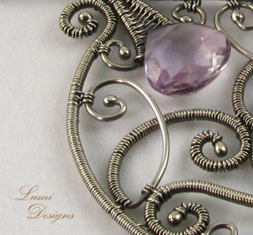 Necklace 'Infinity' with amethyst and sterling silver