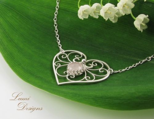 Necklace 'Bride's Heart' with rose quartz and sterling silver (925)