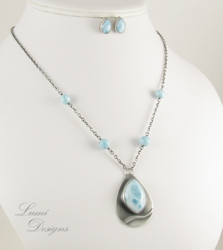 Jewellery Set 'Silent Water' - larimar and sterling silver (925)