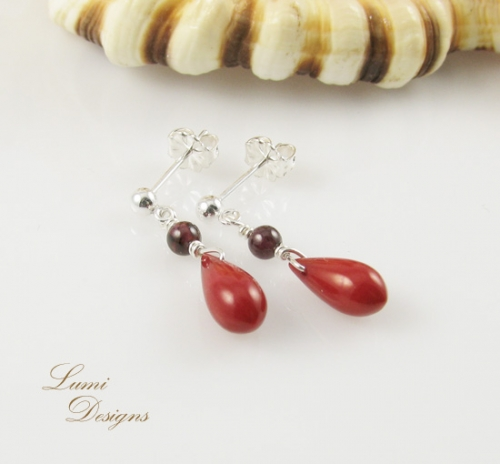 earrings 'Passion' with red coral and garnet