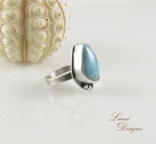 Ring 'Listen to the Ocean' - sterling silver (925) and larimar