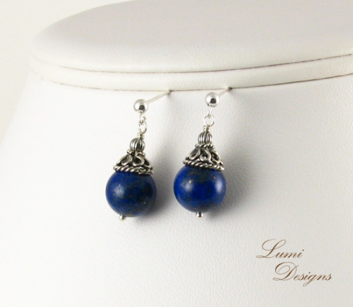Earrings 'Midnight Sky' with sterling silver (925) and lapis lazuli