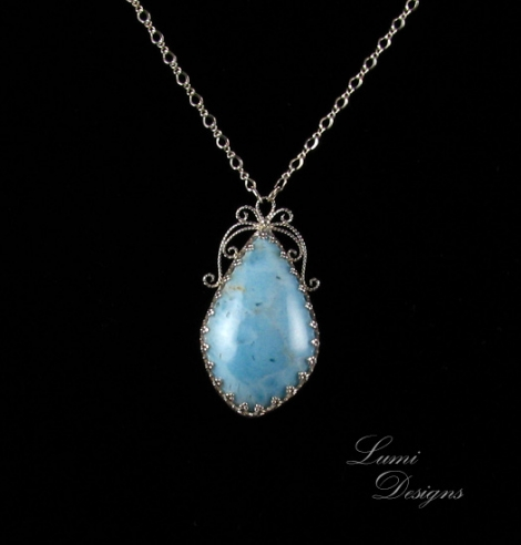 Necklace 'Anne' with larimar and sterling silver
