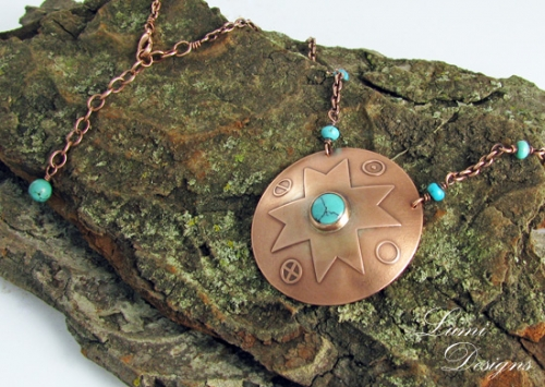 necklace 'Towards the Heavens' with turquoise and copper