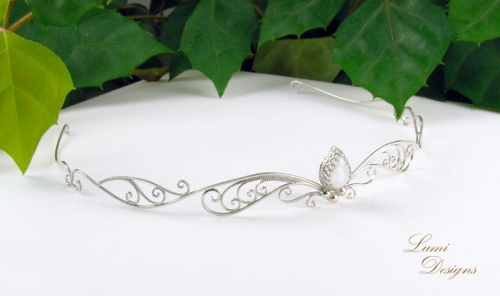 Tiara: moonstone and sterling silver