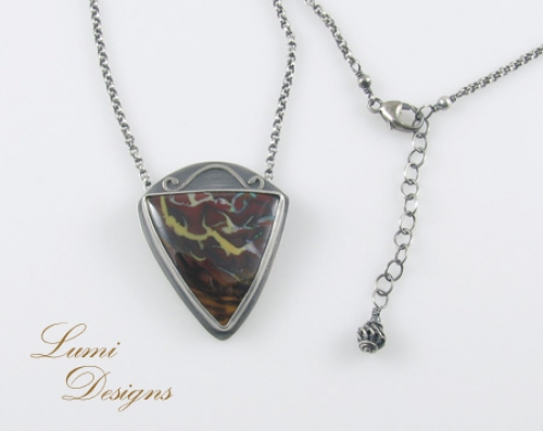 Necklace 'Treasures' with koroit opal and sterling silver