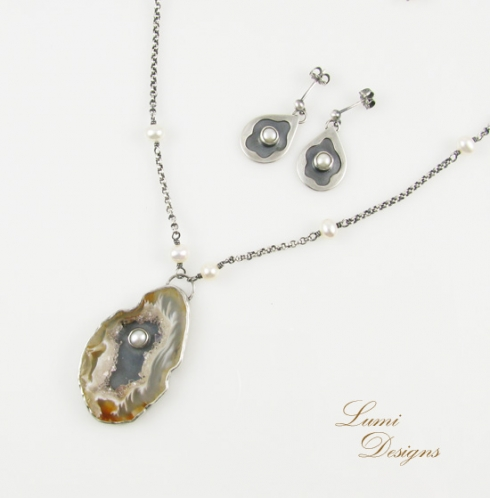 Jewellery Set 'The Birth of Venus' with agate-geode, freshwater pearls and sterling silver (925)