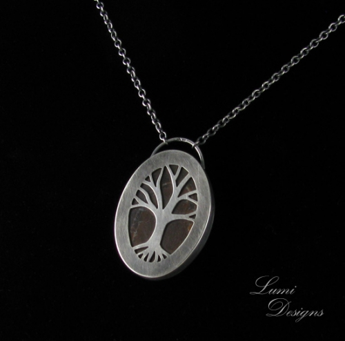 necklace 'Tree' with koroit opal and sterling silver (925)