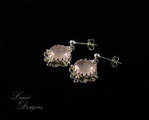 Jewellery Set 'Smiling Heart' with rose quartz and sterling silver