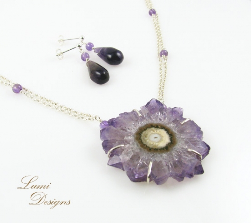 Jewellery Set 'Crystal Flower' with amethyst and sterling silver (925)