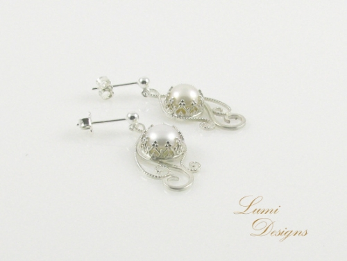 Earrings 'Together' with freshwater pearls and sterling silver (925)